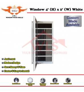 2 In 1 Window With Grille 4' (H) x 2' (W) WHITE