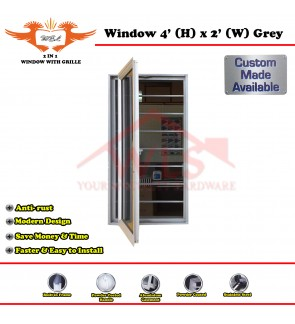 2 In 1 Window With Grille 4' (H) x 2' (W) GREY
