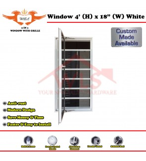 "2 In 1 Window With Grille 4' (H) x 18"" (W) WHITE"