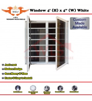 2 In 1 Window With Grille 4' (H) x 4' (W) WHITE