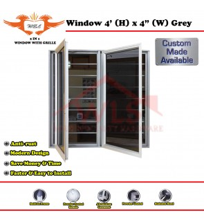 2 In 1 Window With Grille 4' (H) x 4' (W) GREY