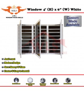2 In 1 Window With Grille 4' (H) x 6' (W) WHITE