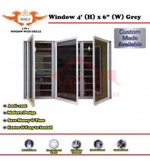 2 In 1 Window With Grille 4' (H) x 6' (W) GREY