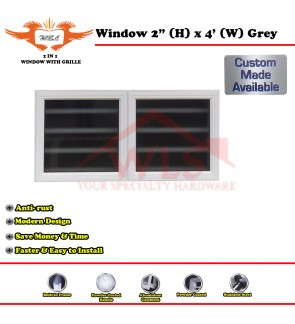 2 In 1 Window Toilet With Grille 2' (H) x 4' (W) GREY