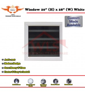 "2 In 1 Window Toilet With Grille 20"" (H) x 28"" (W) WHITE"
