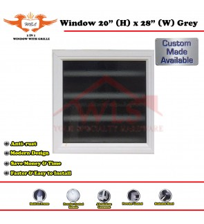 "2 In 1 Window Toilet With Grille 20"" (H) x 28"" (W) GREY"