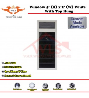 2 In 1 Window With Grille and Top Hung 5' (H) x 2' (W) WHITE