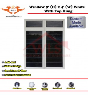 2 In 1 Window With Grille and Top Hung 5' (H) x 4' (W) WHITE