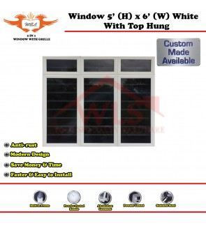 2 In 1 Window With Grille and Top Hung 5' (H) x 6' (W) WHITE