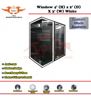 2 In 1 Window With Grille 4' (H) x 2' (D) x 3' (W) WHITE