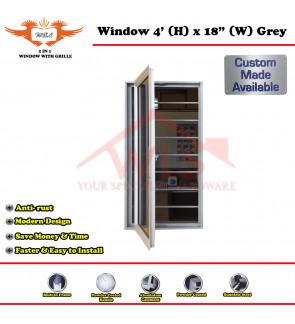 "2 In 1 Window With Grille 4' (H) x 18"" (W) GREY"