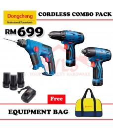 DONG CHENG 12V CORDLESS COMBO PACK HAMMER DRILL + DRIVER DRILLl +IMPACT DRIVER