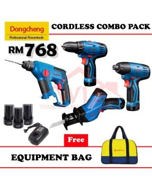 DONG CHENG 12V CORDLESS COMBO PACK HAMMER DRILL + DRIVER DRILLl +IMPACT DRIVER +PWP SABRE SAW