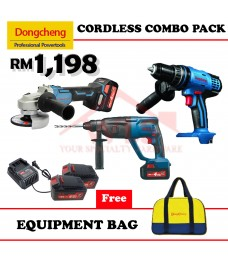 DONGCHENG 18V CORDLESS COMBO PACK HAMMER DRILL + ANGLE GRINDER + PWP
