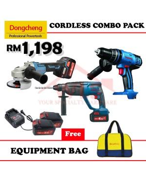 DONGCHENG 18V CORDLESS COMBO PACK HAMMER DRILL + ANGLE GRINDER + PWP